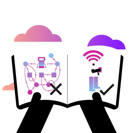 illustration of book showing complicated communications and easy new communications