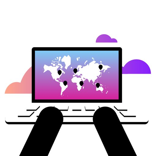 laptop with global map