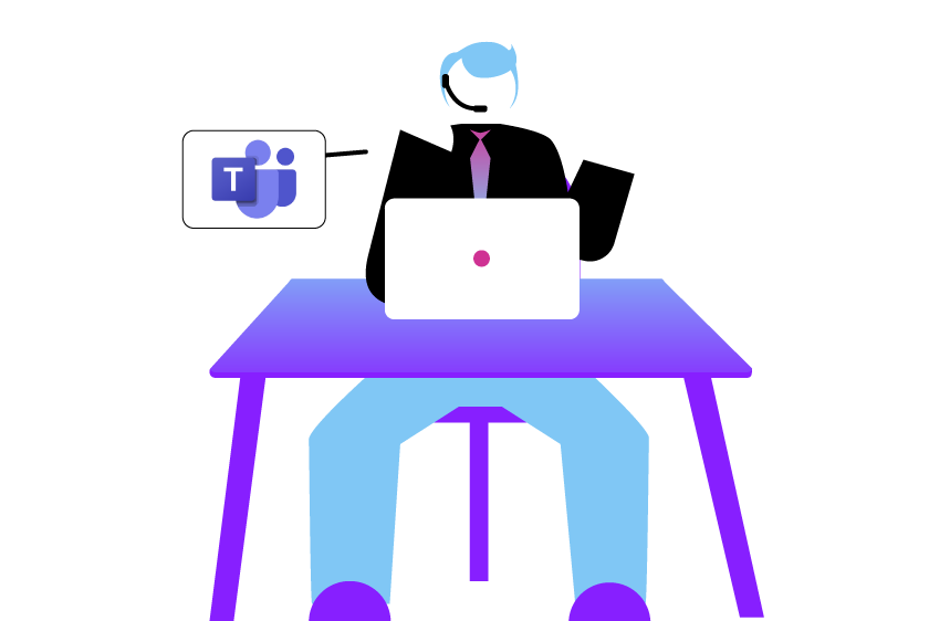 Illustration of contact center agent serving customers and collaborating with co-workers with Microsoft Teams
