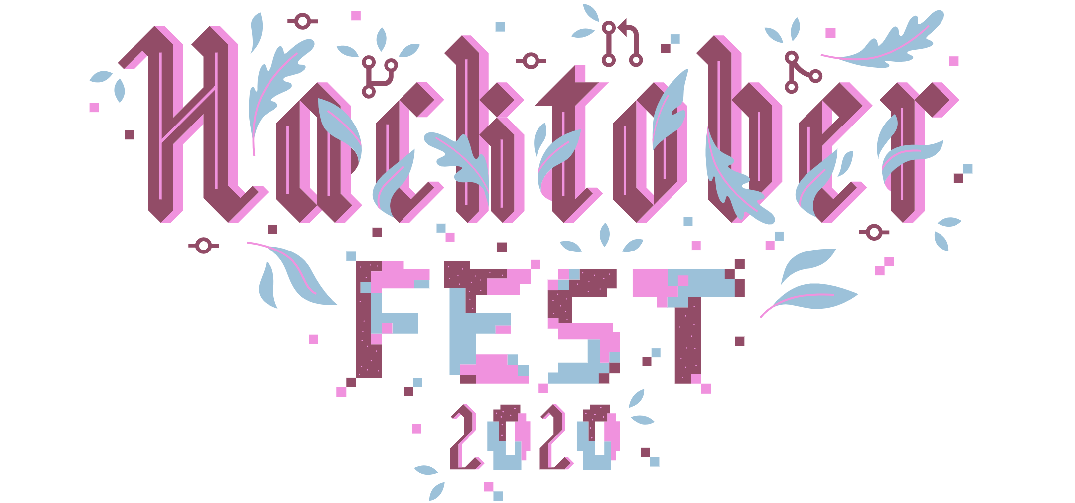 Pink and blue graphic for Hacktoberfest 2020
