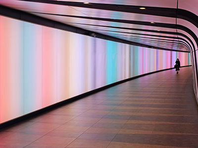Colorful, illuminated hallway